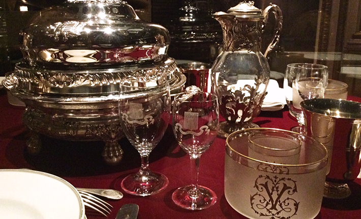 A reproduction of the table setting from the historic dinner of the three emperors in 1867