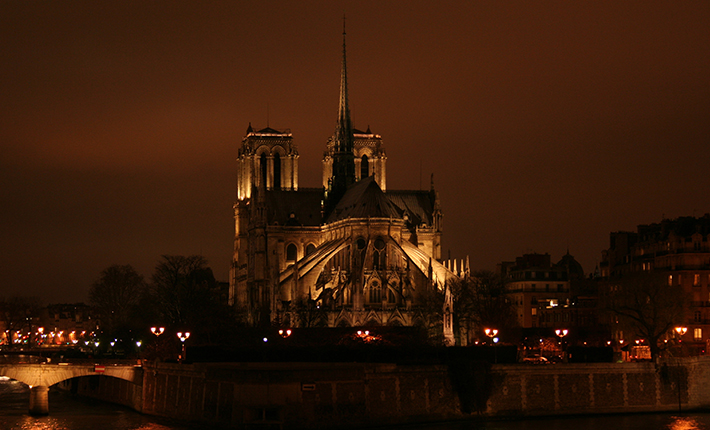 A view of the Notre-Dame Cathedral by night, from Tour d'Argent Paris